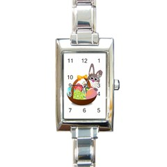 Easter Bunny Eggs Nest Basket Rectangle Italian Charm Watch