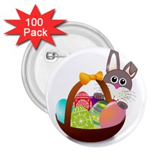 Easter Bunny Eggs Nest Basket 2.25  Buttons (100 pack)