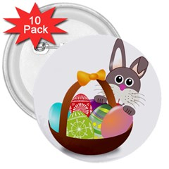 Easter Bunny Eggs Nest Basket 3  Buttons (10 pack)