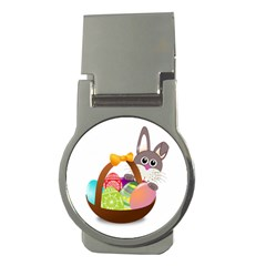 Easter Bunny Eggs Nest Basket Money Clips (Round)