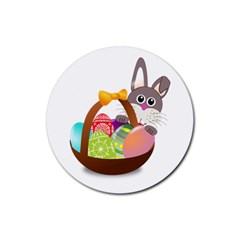 Easter Bunny Eggs Nest Basket Rubber Coaster (Round)