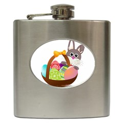 Easter Bunny Eggs Nest Basket Hip Flask (6 oz)