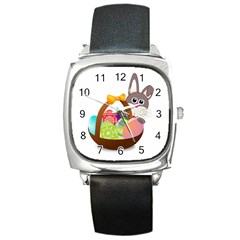 Easter Bunny Eggs Nest Basket Square Metal Watch