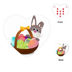 Easter Bunny Eggs Nest Basket Playing Cards (Heart)