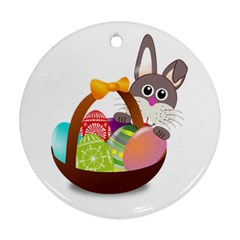 Easter Bunny Eggs Nest Basket Round Ornament (two Sides)