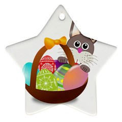 Easter Bunny Eggs Nest Basket Star Ornament (two Sides)