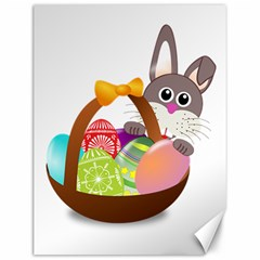 Easter Bunny Eggs Nest Basket Canvas 12  X 16