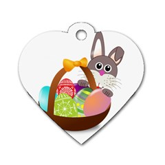 Easter Bunny Eggs Nest Basket Dog Tag Heart (Two Sides)