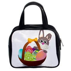 Easter Bunny Eggs Nest Basket Classic Handbags (2 Sides)