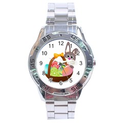 Easter Bunny Eggs Nest Basket Stainless Steel Analogue Watch