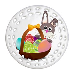Easter Bunny Eggs Nest Basket Round Filigree Ornament (two Sides)