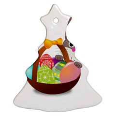 Easter Bunny Eggs Nest Basket Christmas Tree Ornament (two Sides)