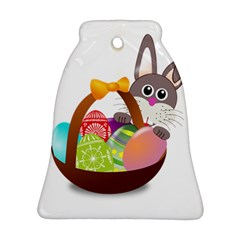 Easter Bunny Eggs Nest Basket Bell Ornament (two Sides)