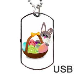 Easter Bunny Eggs Nest Basket Dog Tag USB Flash (Two Sides)