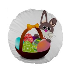 Easter Bunny Eggs Nest Basket Standard 15  Premium Round Cushions
