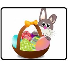 Easter Bunny Eggs Nest Basket Double Sided Fleece Blanket (Medium)