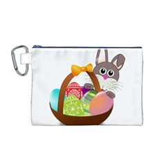 Easter Bunny Eggs Nest Basket Canvas Cosmetic Bag (M)