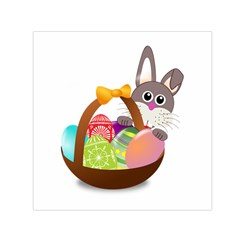 Easter Bunny Eggs Nest Basket Small Satin Scarf (Square)