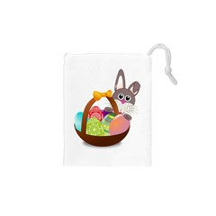 Easter Bunny Eggs Nest Basket Drawstring Pouches (XS)