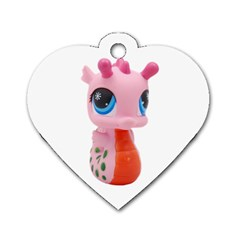 Dragon Toy Pink Plaything Creature Dog Tag Heart (One Side)