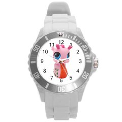 Dragon Toy Pink Plaything Creature Round Plastic Sport Watch (L)