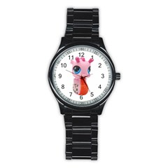 Dragon Toy Pink Plaything Creature Stainless Steel Round Watch