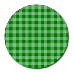 Gingham Background Fabric Texture Round Mousepads
