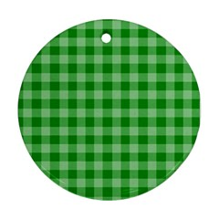 Gingham Background Fabric Texture Ornament (Round)