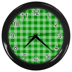 Gingham Background Fabric Texture Wall Clocks (Black)