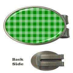 Gingham Background Fabric Texture Money Clips (Oval)