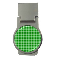 Gingham Background Fabric Texture Money Clips (Round)