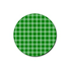 Gingham Background Fabric Texture Rubber Coaster (Round)