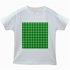 Gingham Background Fabric Texture Kids White T-Shirts