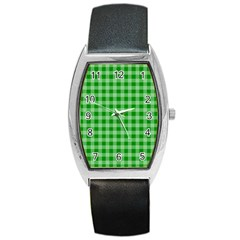 Gingham Background Fabric Texture Barrel Style Metal Watch