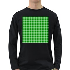 Gingham Background Fabric Texture Long Sleeve Dark T-Shirts