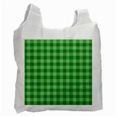Gingham Background Fabric Texture Recycle Bag (One Side)