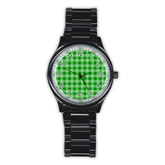 Gingham Background Fabric Texture Stainless Steel Round Watch