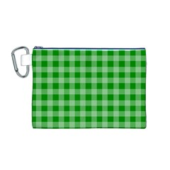 Gingham Background Fabric Texture Canvas Cosmetic Bag (M)