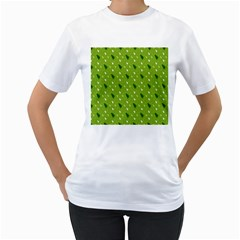 Green Christmas Tree Background Women s T-Shirt (White) (Two Sided)