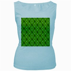 Green Christmas Tree Background Women s Baby Blue Tank Top