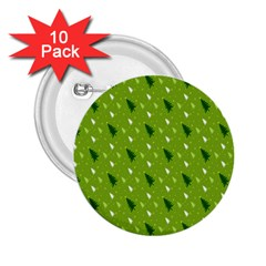 Green Christmas Tree Background 2.25  Buttons (10 pack)