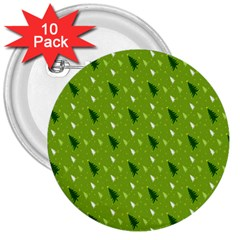 Green Christmas Tree Background 3  Buttons (10 pack)