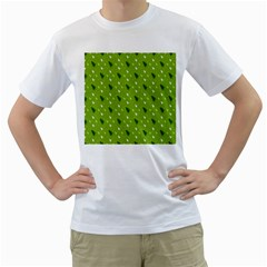 Green Christmas Tree Background Men s T-Shirt (White) (Two Sided)