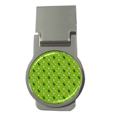 Green Christmas Tree Background Money Clips (Round)