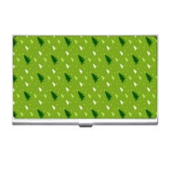 Green Christmas Tree Background Business Card Holders