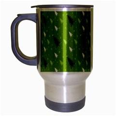Green Christmas Tree Background Travel Mug (Silver Gray)
