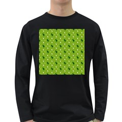 Green Christmas Tree Background Long Sleeve Dark T-Shirts