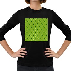 Green Christmas Tree Background Women s Long Sleeve Dark T-Shirts