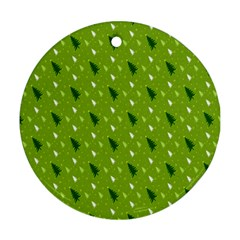 Green Christmas Tree Background Round Ornament (Two Sides)