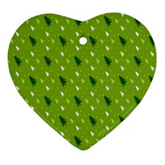 Green Christmas Tree Background Heart Ornament (Two Sides)